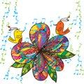 Zen Bird Flower Fabric Music C...