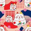 Zen cat Maneki look fan dot decor seamless pattern Royalty Free Stock Photo