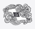 Zen doodle or zen tangle concept viewfinder in the form of hands black on white for coloring page relax coloring book Royalty Free Stock Image