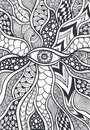 Zen doodle or zen tangle texture or pattern with eye black on white for coloring page relax coloring book wallpaper for Stock Images