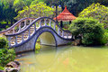 Zen garden with arch shape bridge peaceful chinese shaped and pavilion Stock Photography