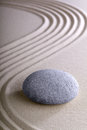 Zen garden meditation and relaxation stone japanese or simplicity calmness balance in a pattern of lines in sand round stones Stock Images