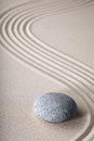 Zen garden spirituality purity spa background japanese stone with raked sand and round stone tranquility and balance ripples sand Royalty Free Stock Photos
