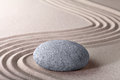 Zen garden stone and sand pattern tranquil relax Royalty Free Stock Photo