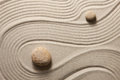 Zen garden stones surrounded by sand ripples concept Stock Photo