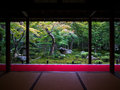 Zen garden view from tatami room japanese with Royalty Free Stock Photo