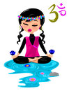 Zen illustration of a young woman doing yoga Royalty Free Stock Image