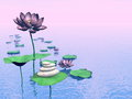 Zen lily flowers d render pink and leaves next to white stones upon water by colorful day Royalty Free Stock Image