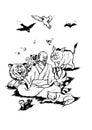 Zen master et animaux heureux Photo libre de droits