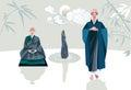 Zen master und schüler vertikales horizontales Stockbilder