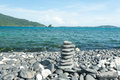Zen meditation background,Balanced stones stack close up on sea Royalty Free Stock Photo