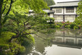 Zen pond and garden fresh green summer scenery from japanese Royalty Free Stock Photos