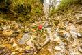 Zen rock arrangement along hiking trail mountains of Nepal Royalty Free Stock Photo