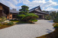 Zen rock garden in japan imperial palace kyoto Royalty Free Stock Photography