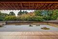 Zen Rock Garden in Ryoanji Temple Royalty Free Stock Photo