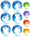Zen Stick Figure Crystal Icon Set Royalty Free Stock Photo