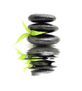 Zen stone with bamboo leaf Royalty Free Stock Photo