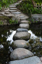Zen stone path in a Japanese Garden across a tranquil pond in Ok Royalty Free Stock Photo