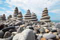 Zen stones against sky Royalty Free Stock Photo