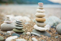 Zen stones on beach near sea close up Stock Images