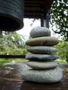Zen stones and japenese bell Royalty Free Stock Photography