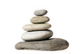 Zen stones in pyramid on white background Royalty Free Stock Photos