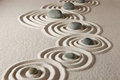 Zen stones on raked sand concept Stock Photography