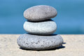 Zen stones stacked on a sea background Royalty Free Stock Photography