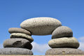 Zen stones stacked with sky background Stock Image