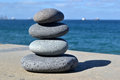Zen stones stone tower with sea background Stock Photography