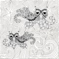 Zen tangle hand drawn black and white abstract starry night and waves