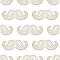 Zen tangle mustache vector. Zentangle whisker. Seamless pattern.