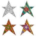 Zen tangle and zen doodle set of star. Zentangle and zendoodle vector.