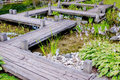 Zen wooden bridge Stock Images