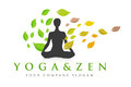 Zen yoga logo illustration representing a with a man standing in position and leaves flying around him Stock Photography