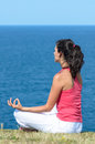 Zen yoga and sea Stock Photo