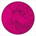 Zendala. Zentangle. Hand drawn circle mandala