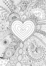 Zendoodle design of heart shape on abstract line art background design