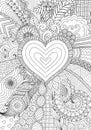 Zendoodle design of heart shape on abstract line art background design