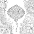 Zendoodle of Stingray swimming among beautiful corals under water world for adult coloring book pages - Stock Vector Royalty Free Stock Photo