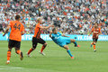 Zenit player makes a kick in flight during the match between shakhtar donetsk city ukraine vs st petersburg russia united Royalty Free Stock Image
