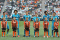 Zenit team with children before the match between shakhtar donetsk city ukraine vs st petersburg russia united tournament Stock Image