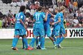 Zenit team selebrate the goal during match between shakhtar donetsk city ukraine vs st petersburg russia united Royalty Free Stock Photo