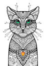 Zentangle cat with glossy green eyes and red candle heart. Hand drawn ornamental illustration. Doodle tribal sketch