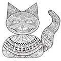 Zentangle cat bank, decoration cat, adult coloring book, coloring