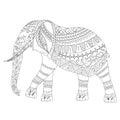 Zentangle Elephant doodle on white background Royalty Free Stock Photo