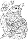 Zentangle exotic bird in flowers. Hand drawn ethnic animal for a Royalty Free Stock Photo