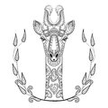 Zentangle Giraffe head totem in frame for adult anti stress