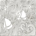Zentangle hand drawn black and white abstract starry night, sailboats on waves