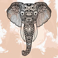 Zentangle head of Elephant, tattoo design in doodle style. Ornam Royalty Free Stock Photo